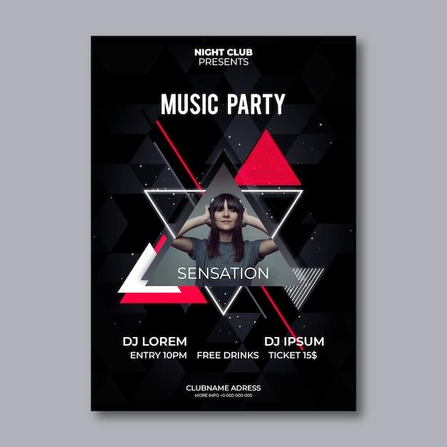 Design de cartaz de música abstrata com foto Vetor Premium