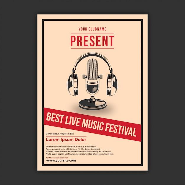 Design de cartaz de música elegante Vetor Premium