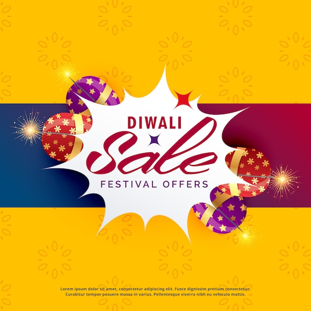Design de cartaz de venda e desconto de diwali brilhante com bolachas Vetor grátis