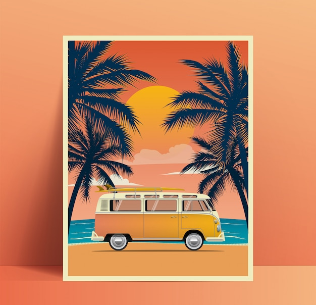 Design de cartaz de viagens de verão com van vintage surf na praia com silhuetas de palmas ao pôr do sol. ilustração Vetor Premium