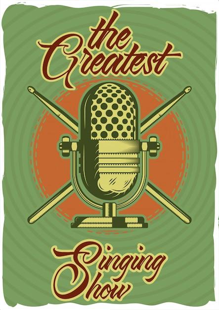 Design de cartaz decorativo com ilustração de um microfone e varas. composição de letras. Vetor Premium