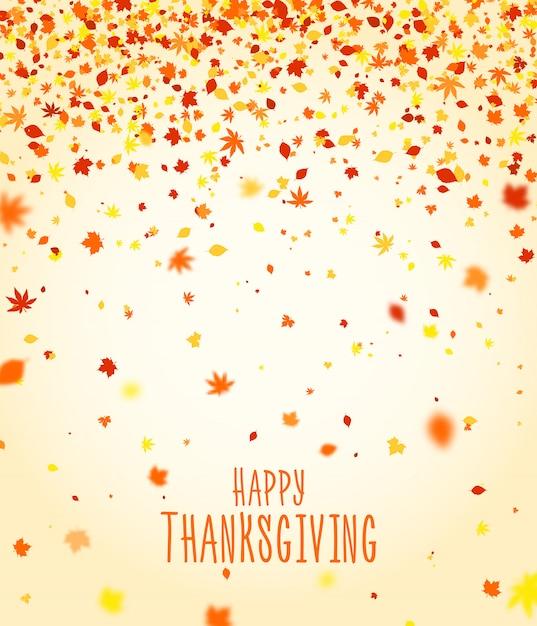 Design de cartaz do dia de ação de graças. cartão de outono, banner de temporada de férias. fundo bonito com colorido caindo folhas de outono. pano de fundo para o carnaval, celebração ou festivo Vetor Premium