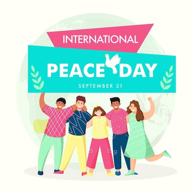 Design de cartaz do dia internacional da paz com grupo alegre de meninos e meninas em pose de pé. Vetor Premium