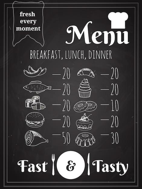 Design de cartaz do menu de comida para almoço ou jantar escrito no quadro-negro Vetor grátis