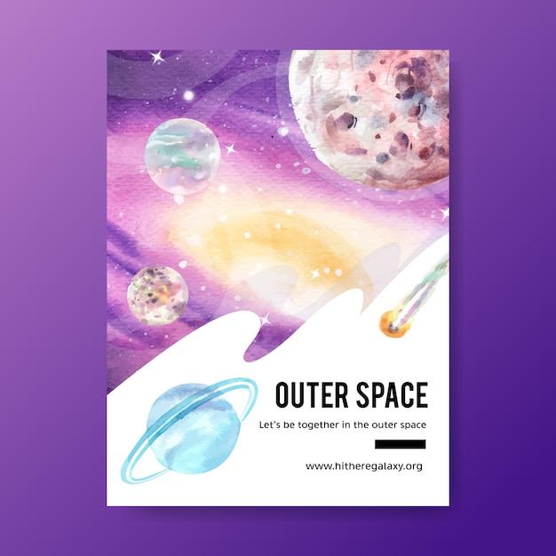 Design de cartaz galáxia com cosmos, asteróide, ilustração de netuno em aquarela. Vetor grátis