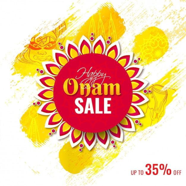 Design de cartaz ou modelo criativo com oferta de desconto de 35% para venda feliz onam. Vetor Premium