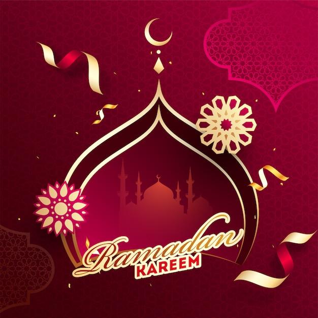 Design de cartaz ou modelo de ramadan kareem com papel cortado mesquita Vetor Premium