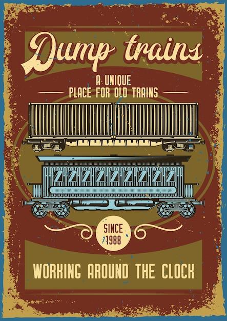 Design de cartaz publicitário com ilustração de diferentes trens Vetor grátis