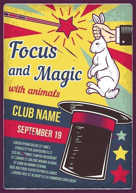 Design de cartaz publicitário com ilustração de um coelho e um chapéu Vetor grátis
