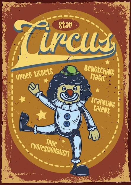 Design de cartaz publicitário com ilustração de um palhaço Vetor grátis