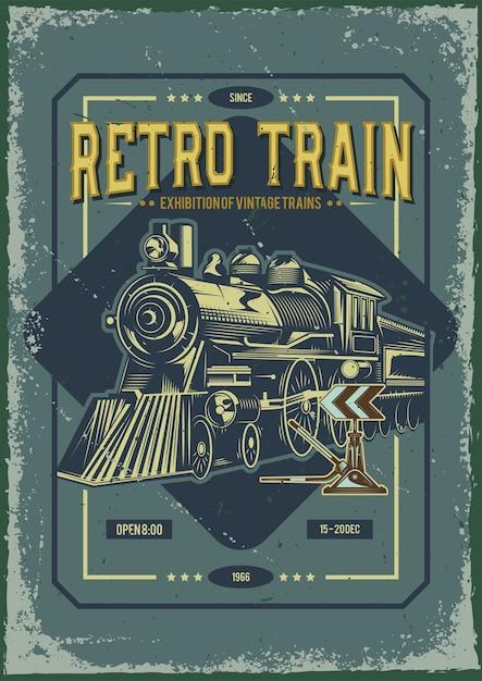 Design de cartaz publicitário com ilustração de um trem Vetor grátis