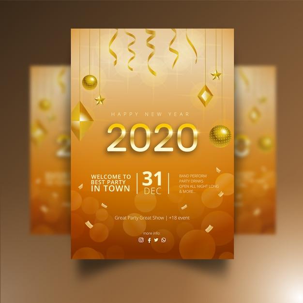 Design de cartaz realista do ano novo 2020 Vetor grátis