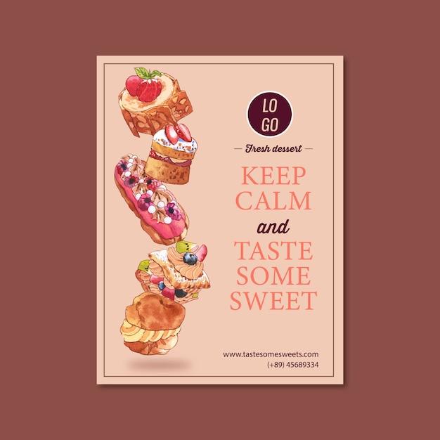 Design de cartaz sobremesa com creme choux, merengue, ilustração de aquarela shortcake de morango. Vetor grátis