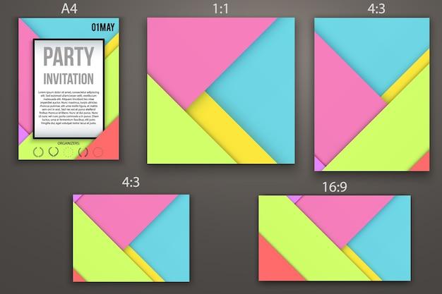 Design de cartões de convite de modelos, página da web e apresentação. estilo de design de material. resumo . formatos diferentes. Vetor Premium