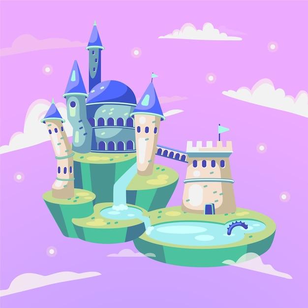 Design de castelo mágico de conto de fadas Vetor grátis
