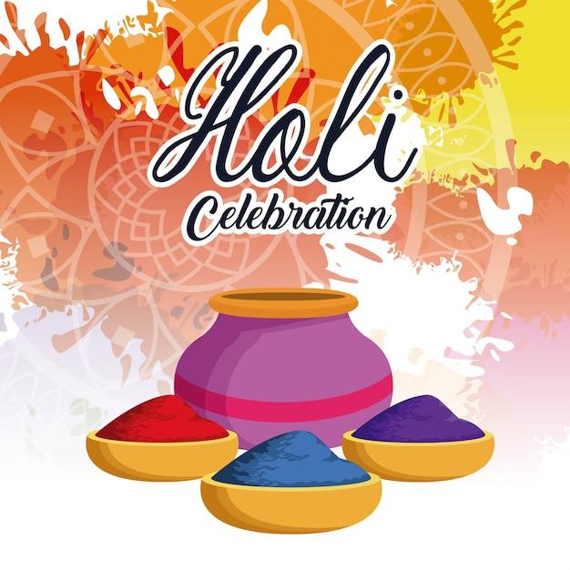 Design de celebração holi Vetor Premium