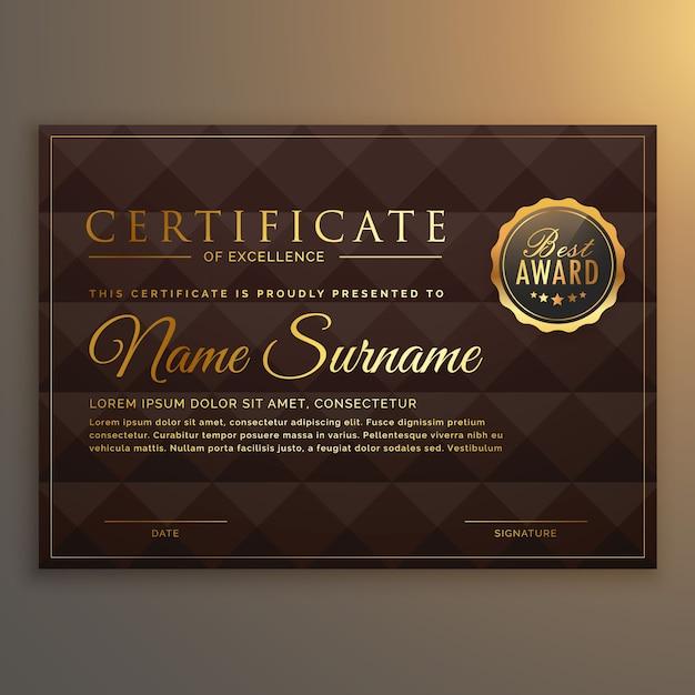 Design de certificado vip em cor dourada com fundo de forma de diamante Vetor Premium