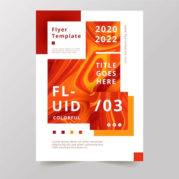 Design de chamas de efeito fluido colorido flyer Vetor grátis