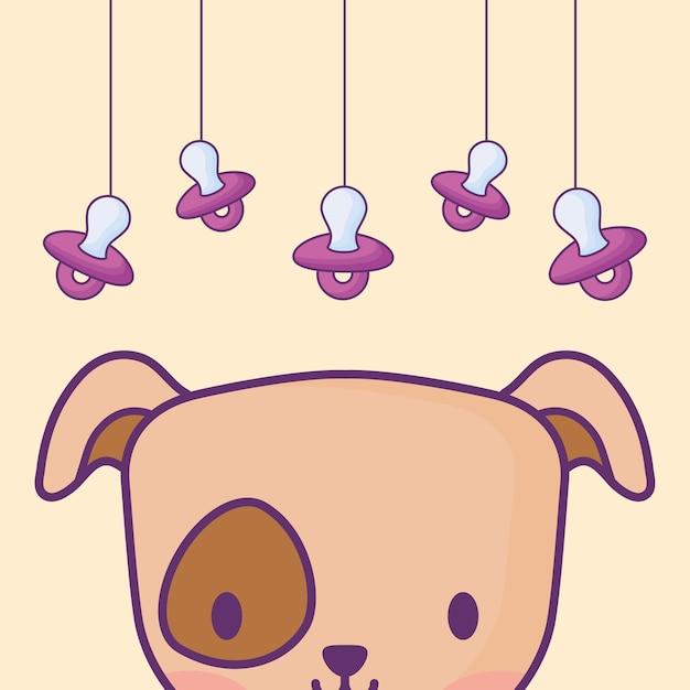 Design de chuveiro de bebê com cachorro fofo e chupetas penduradas Vetor Premium