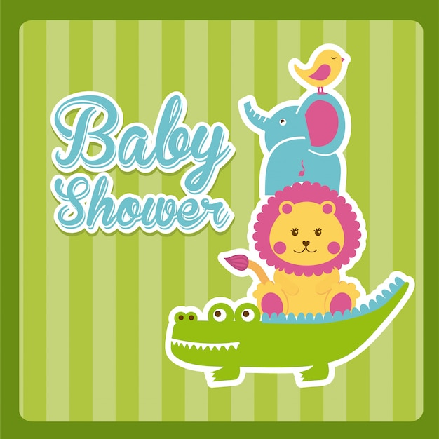 Design de chuveiro de bebê sobre ilustração vetorial de fundo verde Vetor Premium