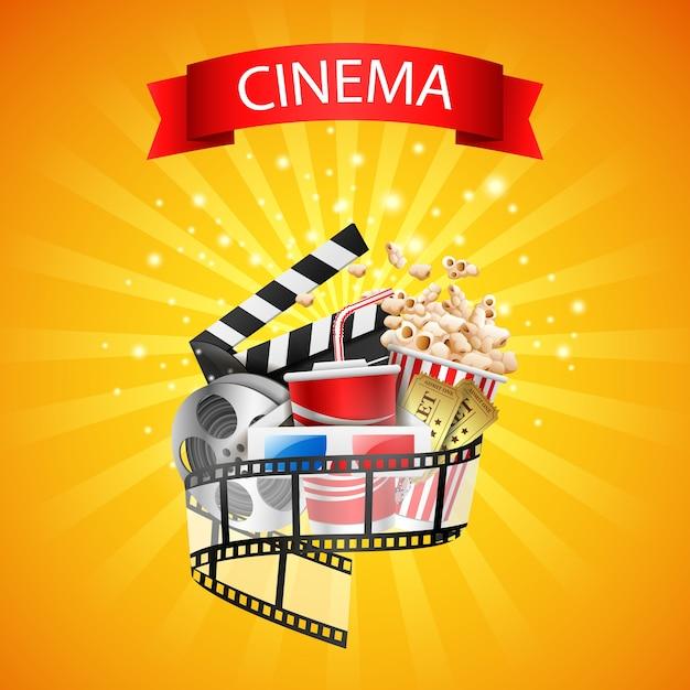 Design de cinema acima fundo amarelo Vetor Premium