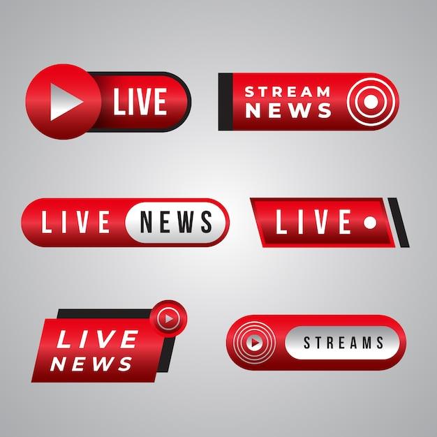 Design de coleção de banner de notícias de transmissões ao vivo Vetor grátis