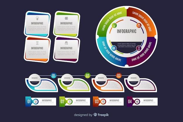 Design de coleção de gráfico infográfico Vetor grátis