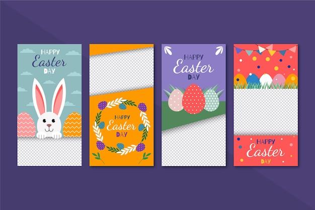Design de coleção de histórias do instagram do dia de páscoa Vetor grátis