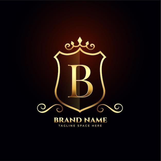 Design de conceito de logotipo dourado ornamental letra b Vetor grátis
