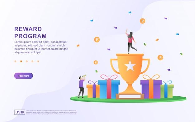 Design de conceito de programa de recompensa, pessoas recebendo recompensas em dinheiro e presentes de compras on-line Vetor Premium