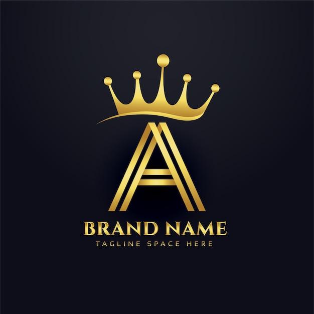 Design de conceito do logotipo de ouro da coroa da letra a Vetor grátis
