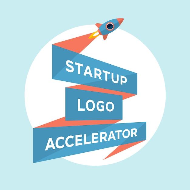 Design de conceito para o arranque do projeto com a inscrição startup logo accelerator Vetor Premium