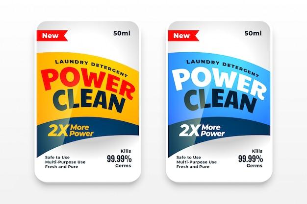 Design de conjunto de etiquetas de detergente ou desinfetante Vetor grátis