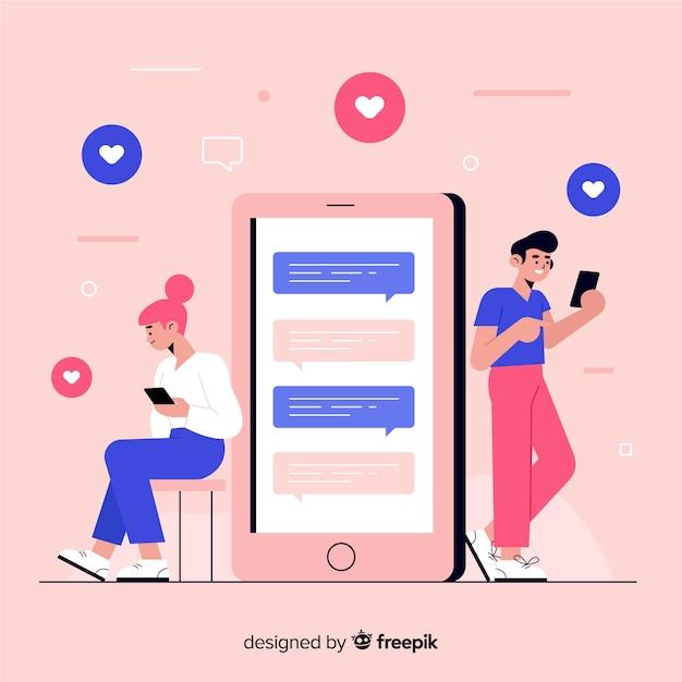 Design de conversar com pessoas em smartphones Vetor grátis