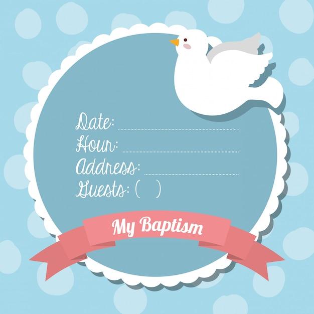 Design de convite de batismo Vetor Premium