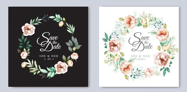 Design de convite de casamento com aquarela floral e folhas Vetor Premium