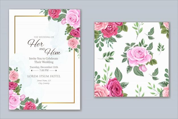 Design de convite de casamento com lindas flores e folhas Vetor Premium