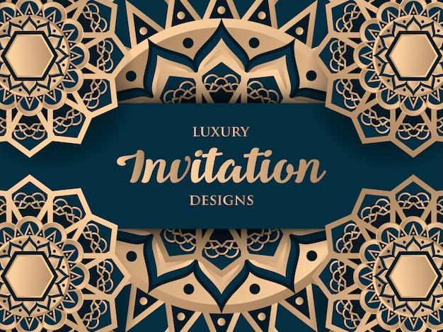 Design de convite de luxo com ornamento de ouro mandala Vetor Premium
