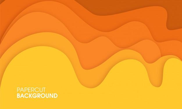 Design de corte de papel abstrato amarelo Vetor Premium