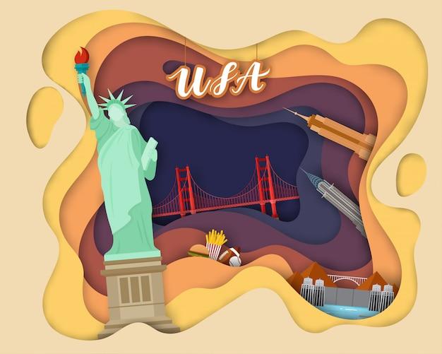 Design de corte de papel da tourist travel usa Vetor Premium