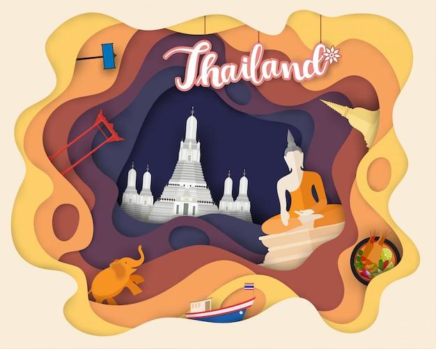 Design de corte de papel de viagens turísticas na tailândia Vetor Premium