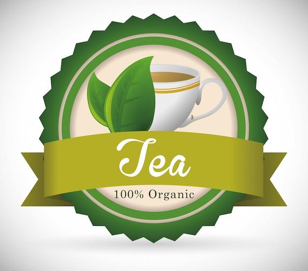 Design de crachá de hora do chá Vetor Premium
