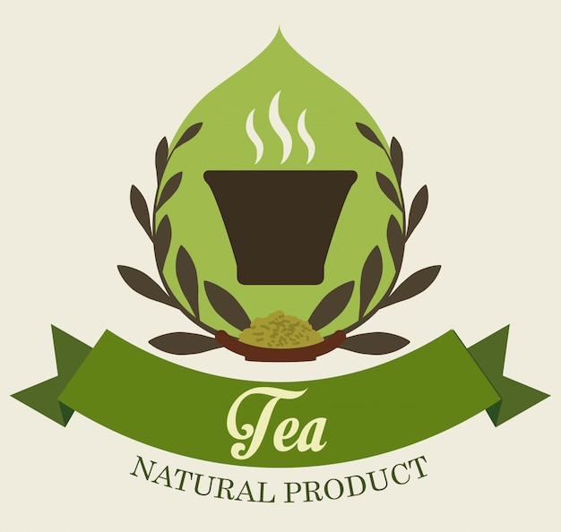 Design de crachá ou etiqueta de hora do chá Vetor Premium