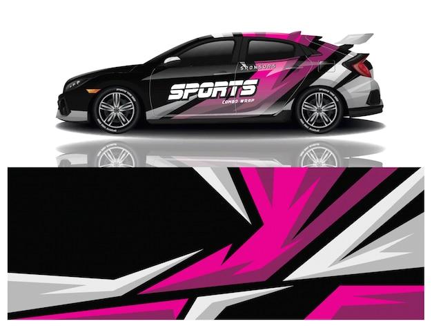 Design de decalque de embrulho de carro esportivo Vetor Premium