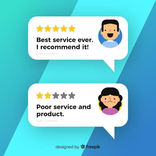 Design de depoimento com bolhas do discurso Vetor Premium