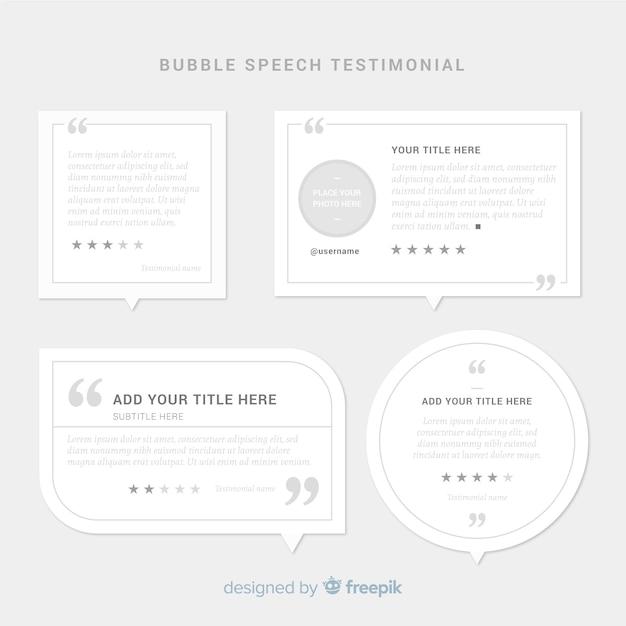 Design de depoimento com conceito de bolhas do discurso Vetor grátis
