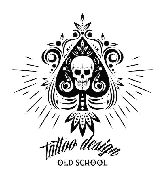 Design de desenho de caveira tatuagem velha Vetor Premium