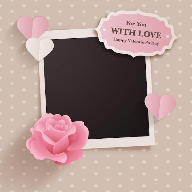 Design de dia dos namorados estilo scrapbook com foto instantânea Vetor Premium