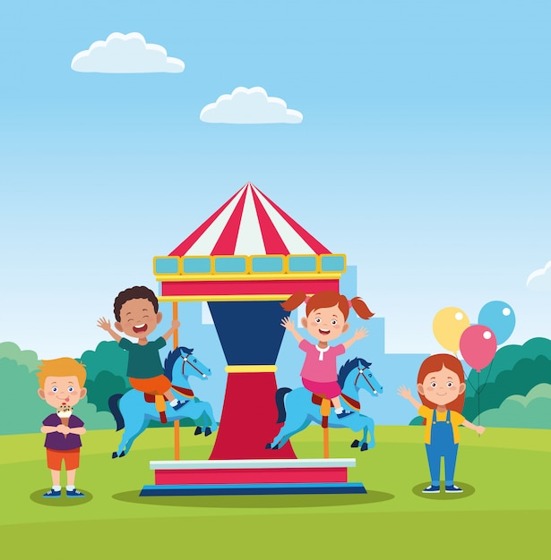 Design de dia feliz crianças com carrossel de cavalo com crianças felizes dos desenhos animados Vetor Premium