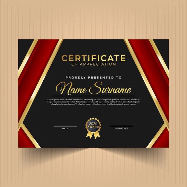 Design de diploma certificado para conquistas com linhas douradas e vermelhas Vetor Premium